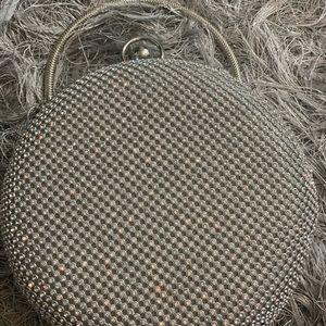 Round silver mini bag